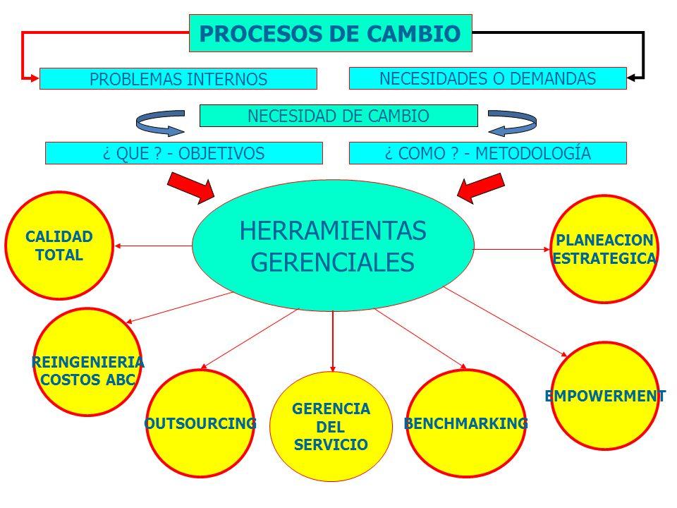 HERRAMIENTAS GERENCIALES REINGENIERIA COSTOS ABC OUTSOURCING PLANEACION ESTRATEGICA EMPOWERMENT CALIDAD TOTAL BENCHMARKING PROCESOS DE CAMBIO PROBLEMA