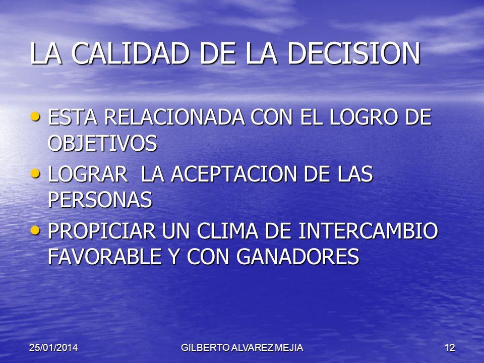 25/01/2014GILBERTO ALVAREZ MEJIA11 ERRORES EN LA TOMA DE DECISIONES AUSENCIA DE OBJETIVOS CLAROS AUSENCIA DE OBJETIVOS CLAROS FALTA DE INFORMACION FAL