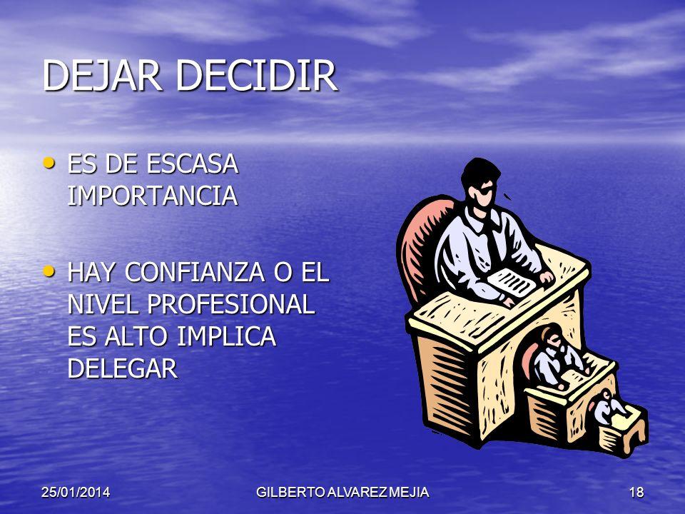 25/01/2014GILBERTO ALVAREZ MEJIA17 FASES EN EL PROCESO DE TOMA DE DECISIONES ESTABLECER EL OBJETIVO IEDNTIFICAR ALTERNATIVAS EVALUAR ALTERNATIVAS SELE