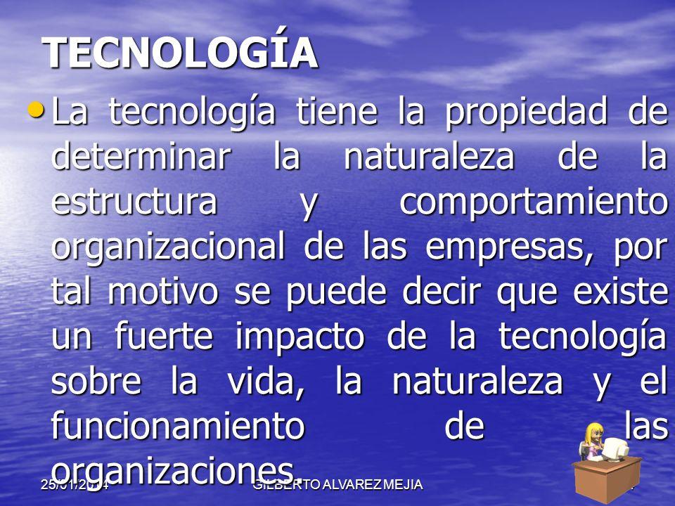 25/01/2014GILBERTO ALVAREZ MEJIA23 FACTORES CONTINGENTES TECNOLOGÍA TECNOLOGÍA TAMAÑO AMBIENTE