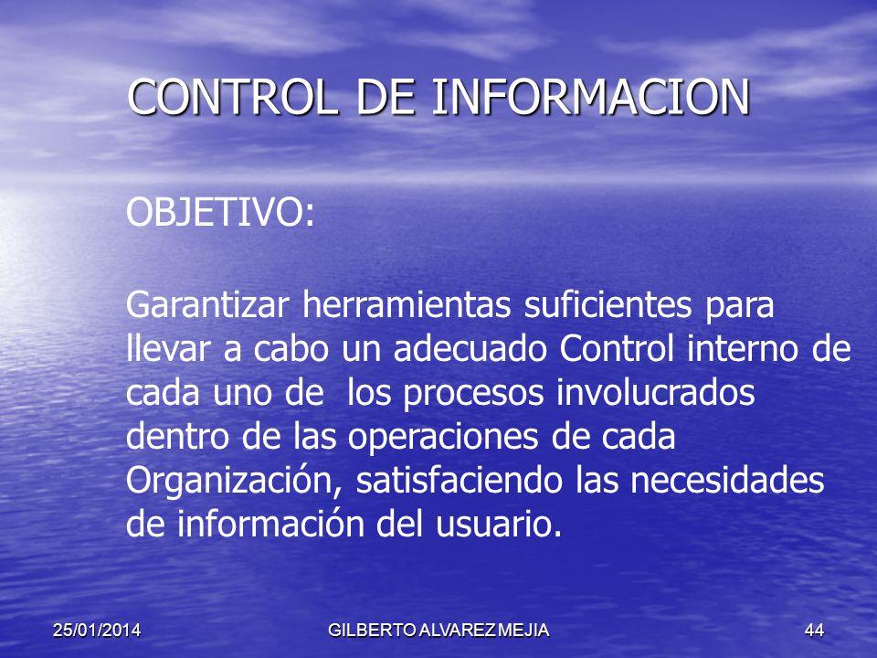 25/01/2014GILBERTO ALVAREZ MEJIA43 CONTROL DE INFORMACION Todas las funciones administrativas, Planificación, Organización, Dirección y Control depend