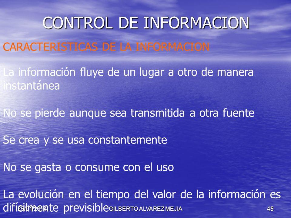 25/01/2014GILBERTO ALVAREZ MEJIA44 CONTROL DE INFORMACION OBJETIVO: Garantizar herramientas suficientes para llevar a cabo un adecuado Control interno