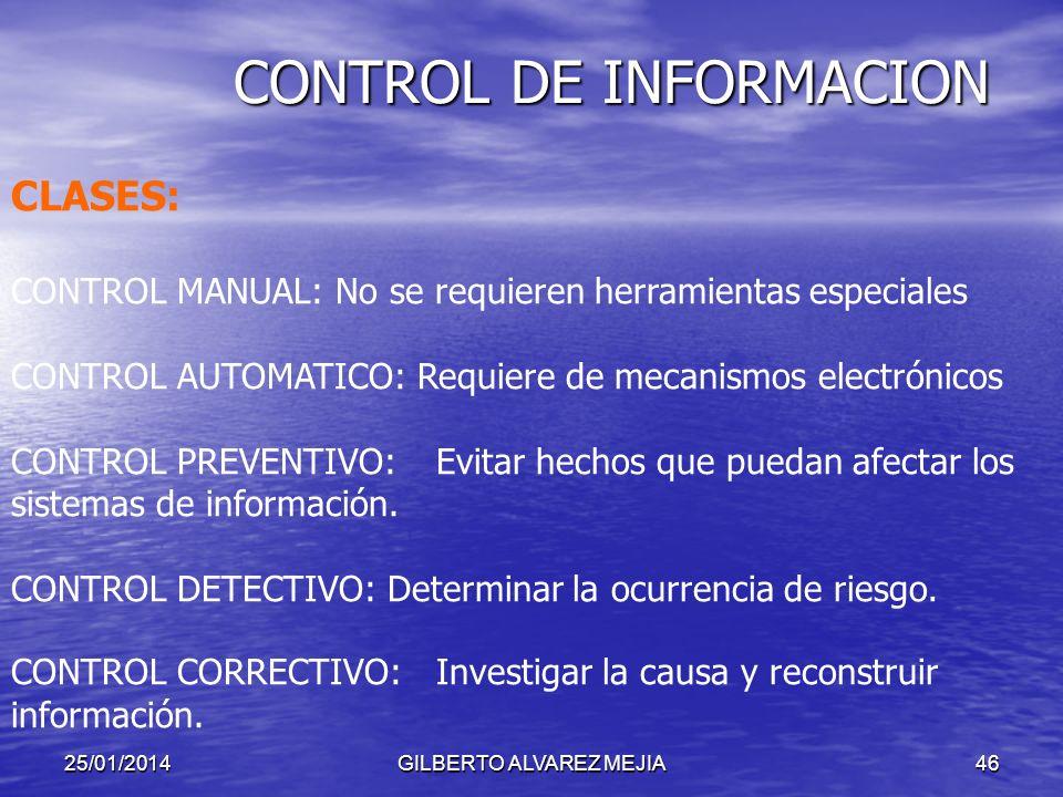 25/01/2014GILBERTO ALVAREZ MEJIA45 CONTROL DE INFORMACION CARACTERISTICAS DE LA INFORMACION La información fluye de un lugar a otro de manera instantá
