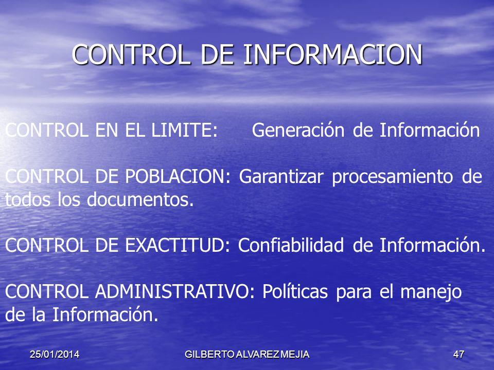 25/01/2014GILBERTO ALVAREZ MEJIA46 CONTROL DE INFORMACION CLASES: CONTROL MANUAL: No se requieren herramientas especiales CONTROL AUTOMATICO: Requiere