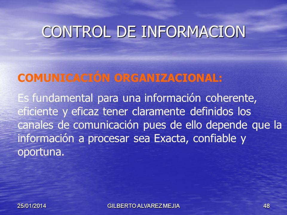 25/01/2014GILBERTO ALVAREZ MEJIA47 CONTROL DE INFORMACION CONTROL EN EL LIMITE:Generación de Información CONTROL DE POBLACION: Garantizar procesamient