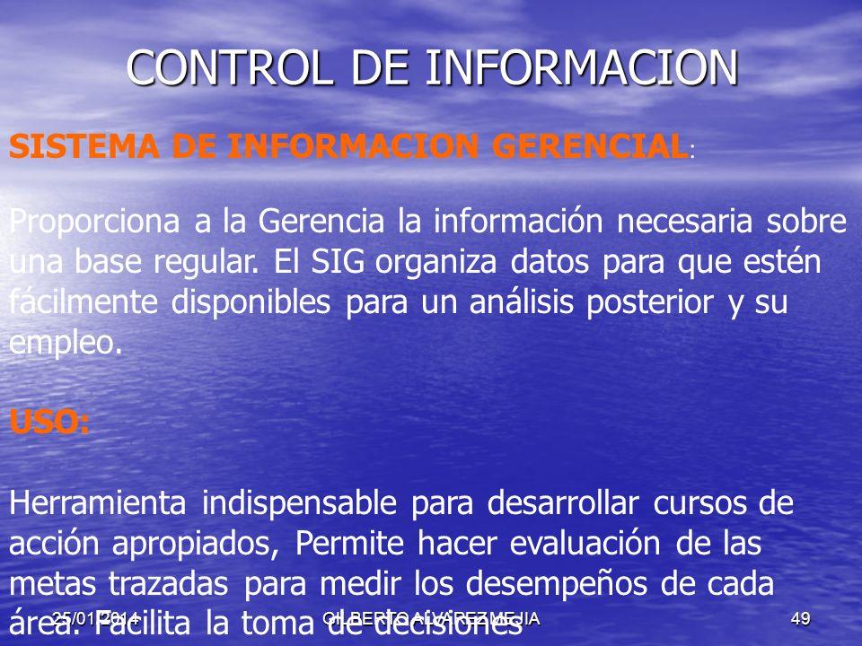 25/01/2014GILBERTO ALVAREZ MEJIA48 CONTROL DE INFORMACION COMUNICACIÓN ORGANIZACIONAL: Es fundamental para una información coherente, eficiente y efic