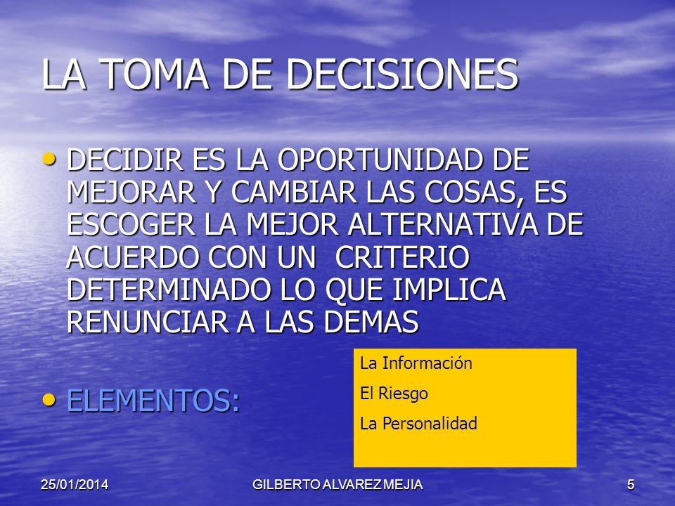 25/01/2014GILBERTO ALVAREZ MEJIA5 LA TOMA DE DECISIONES DECIDIR ES LA OPORTUNIDAD DE MEJORAR Y CAMBIAR LAS COSAS, ES ESCOGER LA MEJOR ALTERNATIVA DE ACUERDO CON UN CRITERIO DETERMINADO LO QUE IMPLICA RENUNCIAR A LAS DEMAS DECIDIR ES LA OPORTUNIDAD DE MEJORAR Y CAMBIAR LAS COSAS, ES ESCOGER LA MEJOR ALTERNATIVA DE ACUERDO CON UN CRITERIO DETERMINADO LO QUE IMPLICA RENUNCIAR A LAS DEMAS ELEMENTOS: ELEMENTOS: La Información El Riesgo La Personalidad