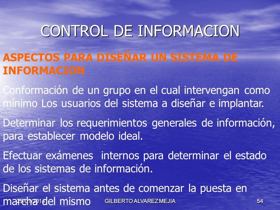25/01/2014GILBERTO ALVAREZ MEJIA53 CONTROL DE INFORMACION FUNCIONES CLAVES PARA LA TOMA DE DECISIONES: COMPRENSION: Captar lo que esta sucediendo CONF
