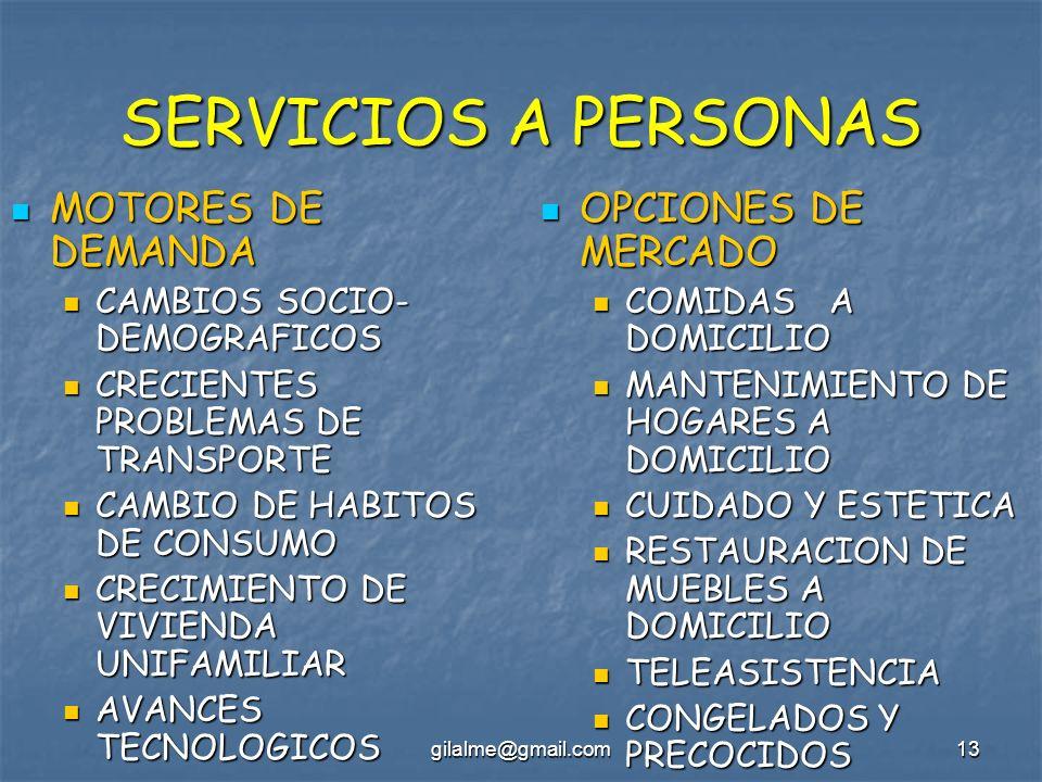 gilalme@gmail.com13 SERVICIOS A PERSONAS MOTORES DE DEMANDA MOTORES DE DEMANDA CAMBIOS SOCIO- DEMOGRAFICOS CAMBIOS SOCIO- DEMOGRAFICOS CRECIENTES PROB