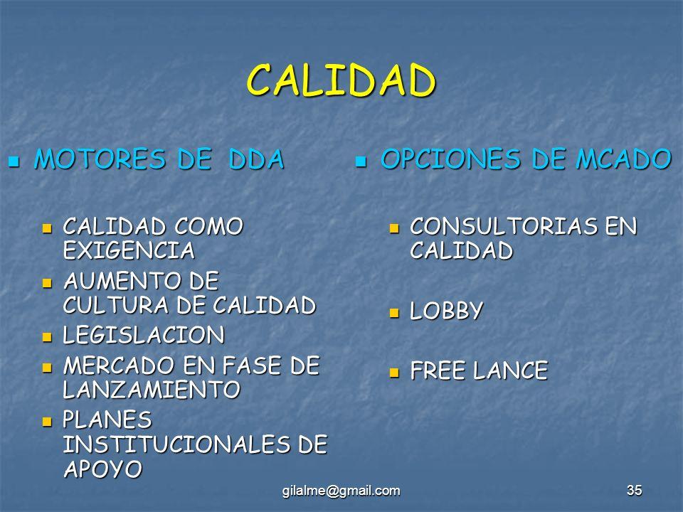 gilalme@gmail.com35 CALIDAD MOTORES DE DDA MOTORES DE DDA CALIDAD COMO EXIGENCIA CALIDAD COMO EXIGENCIA AUMENTO DE CULTURA DE CALIDAD AUMENTO DE CULTU