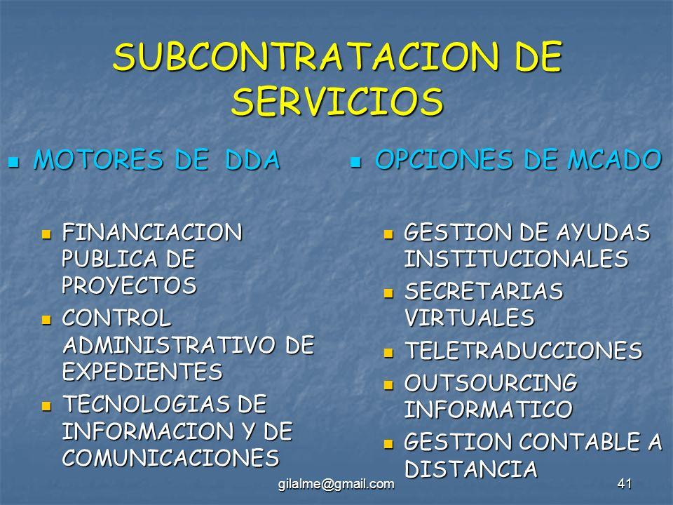gilalme@gmail.com41 SUBCONTRATACION DE SERVICIOS MOTORES DE DDA MOTORES DE DDA FINANCIACION PUBLICA DE PROYECTOS FINANCIACION PUBLICA DE PROYECTOS CON
