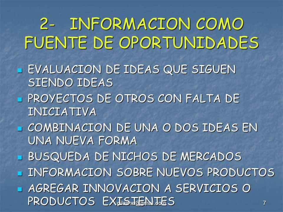 gilalme@gmail.com7 2- INFORMACION COMO FUENTE DE OPORTUNIDADES EVALUACION DE IDEAS QUE SIGUEN SIENDO IDEAS EVALUACION DE IDEAS QUE SIGUEN SIENDO IDEAS