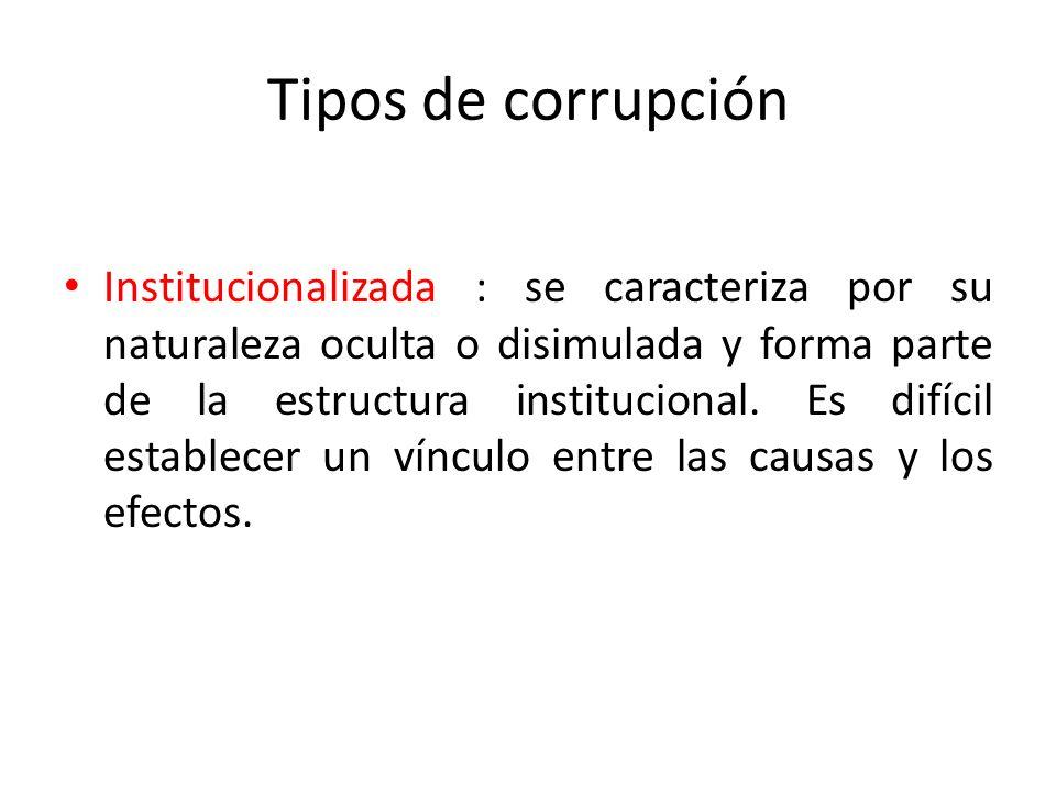 Tipos de corrupción Directa: cuando en los comportamientos concretos e individuales, los autores, las víctimas, el objeto y los móviles pueden ser ide