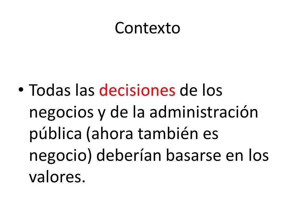Contexto Dentro de la Planeación Estratégica Aplicada, se reconoce la importancia de los valores morales para la toma de decisiones