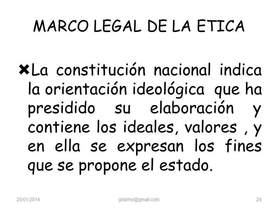 MARCO LEGAL DE LA ETICA Todas las normas que rigen un estado de derecho, desde la misma constitución nacional hasta el acuerdo municipal del municipio