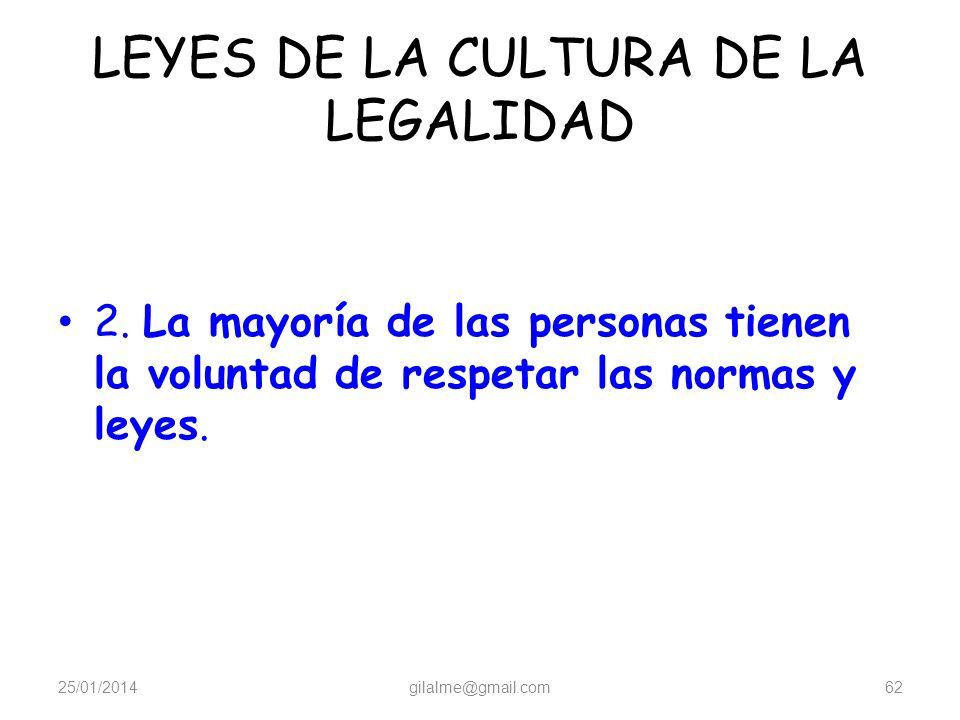 LEYES DE LA CULTURA DE LA LEGALIDAD 1. Los miembros de la sociedad conocen la mayoríapor no decir todaslas normas y leyes. 25/01/2014gilalme@gmail.com