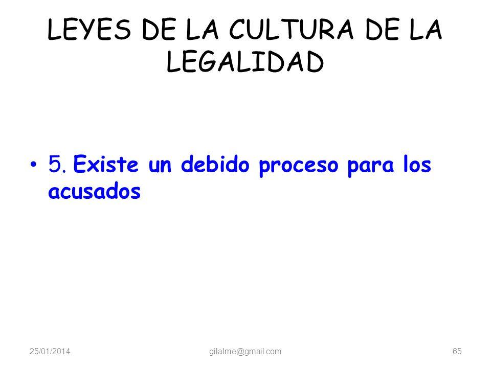 LEYES DE LA CULTURA DE LA LEGALIDAD 4. Para cada violación de la ley existen consecuencias preestablecidas 25/01/2014gilalme@gmail.com64