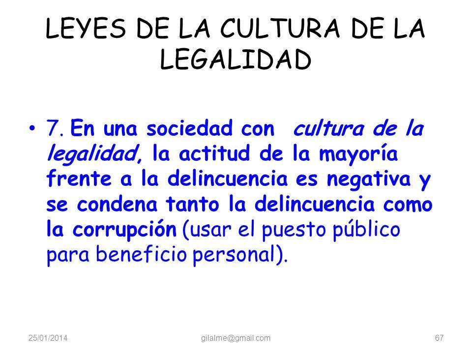 LEYES DE LA CULTURA DE LA LEGALIDAD 6. Existe solidaridad con las víctimas y, en algunos casos, hay un sistema formal de apoyo para las víctimas y sus