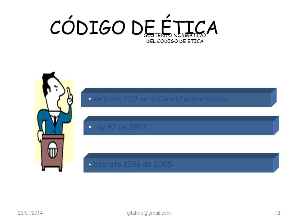 25/01/2014gilalme@gmail.com71 Código de Ética Normatividad Explicación del entorno Legal que lo cobija CÓDIGO DE ÉTICA