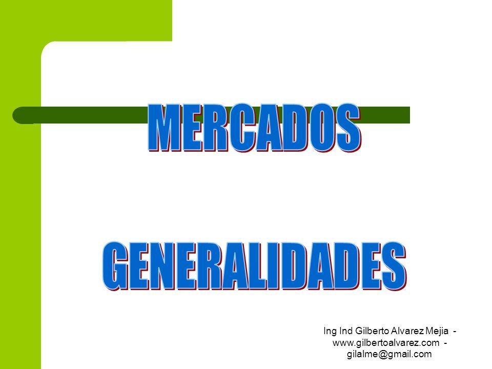 Motivos que hacen que la gente compre Impulso (ocasional un Chicle) Hábito (costumbre la misma panadería) Emoción (imitación, diferencia, comodidad, orgullo) Racionalización (compra calculada: costo, etc) Motivos primarios (No hay marca es necesidad arroz, sal, etc) Selectivos (Cantidades, tamaño, marca) Patrocinio (precio, calidad, o ubicación ) Ing Ind Gilberto Alvarez Mejia - www.gilbertoalvarez.com - gilalme@gmail.com