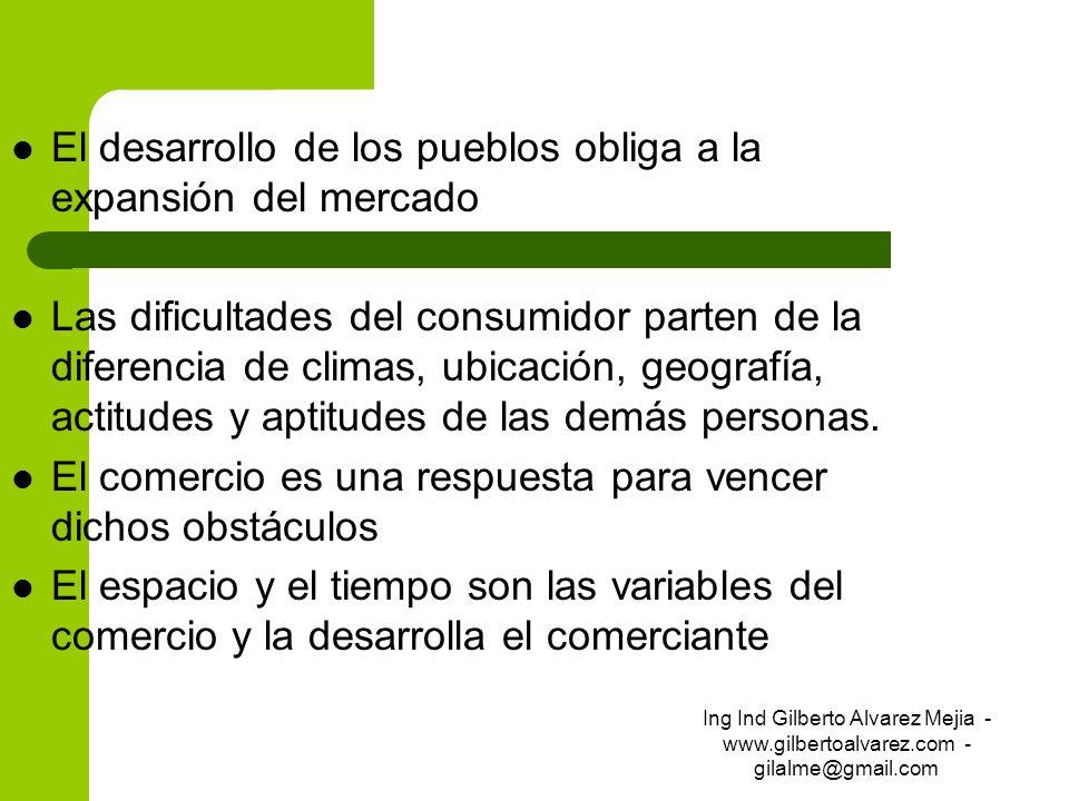 El desarrollo de los pueblos obliga a la expansión del mercado Las dificultades del consumidor parten de la diferencia de climas, ubicación, geografía