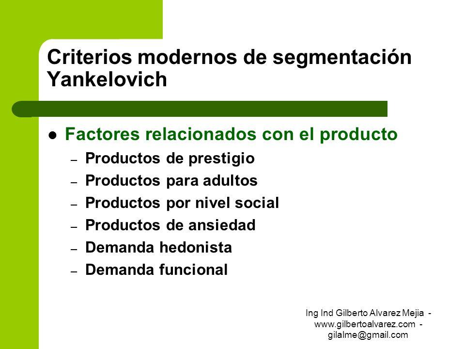 Criterios modernos de segmentación Yankelovich Factores relacionados con el producto – Productos de prestigio – Productos para adultos – Productos por