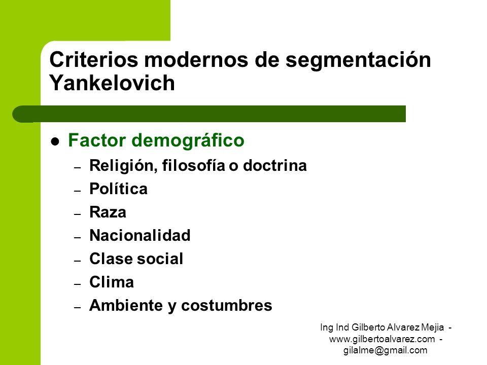 Criterios modernos de segmentación Yankelovich Factor demográfico – Religión, filosofía o doctrina – Política – Raza – Nacionalidad – Clase social – C