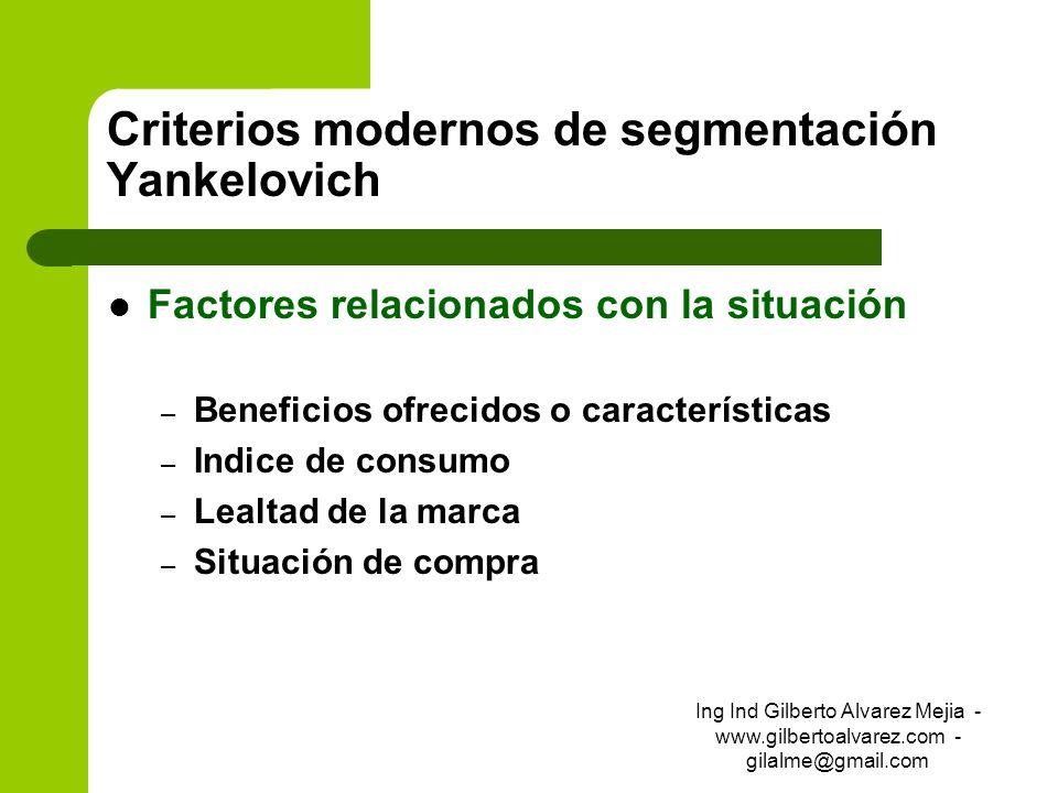 Criterios modernos de segmentación Yankelovich Factores relacionados con la situación – Beneficios ofrecidos o características – Indice de consumo – L