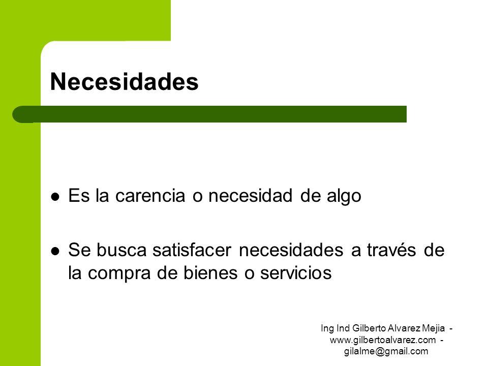 Necesidades Es la carencia o necesidad de algo Se busca satisfacer necesidades a través de la compra de bienes o servicios Ing Ind Gilberto Alvarez Me