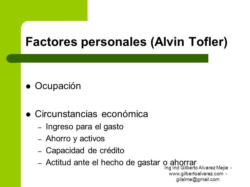 Factores personales (Alvin Tofler) Ocupación Circunstancias económica – Ingreso para el gasto – Ahorro y activos – Capacidad de crédito – Actitud ante