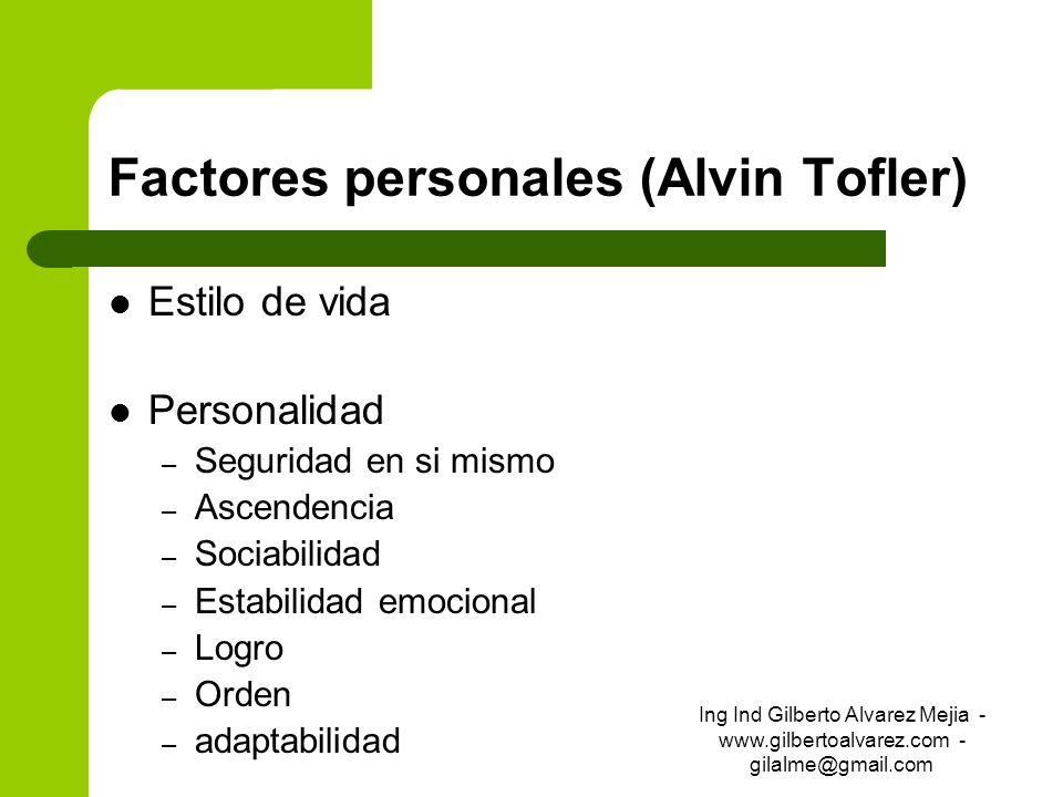 Factores personales (Alvin Tofler) Estilo de vida Personalidad – Seguridad en si mismo – Ascendencia – Sociabilidad – Estabilidad emocional – Logro –