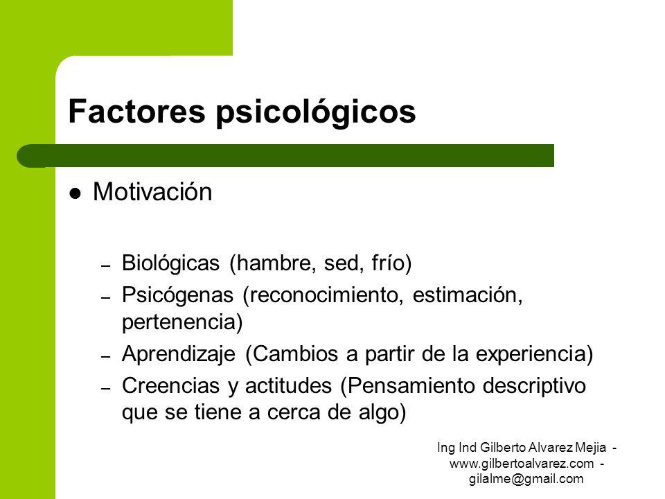 Factores psicológicos Motivación – Biológicas (hambre, sed, frío) – Psicógenas (reconocimiento, estimación, pertenencia) – Aprendizaje (Cambios a part