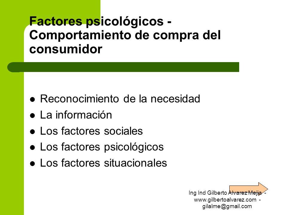 Factores psicológicos - Comportamiento de compra del consumidor Reconocimiento de la necesidad La información Los factores sociales Los factores psico