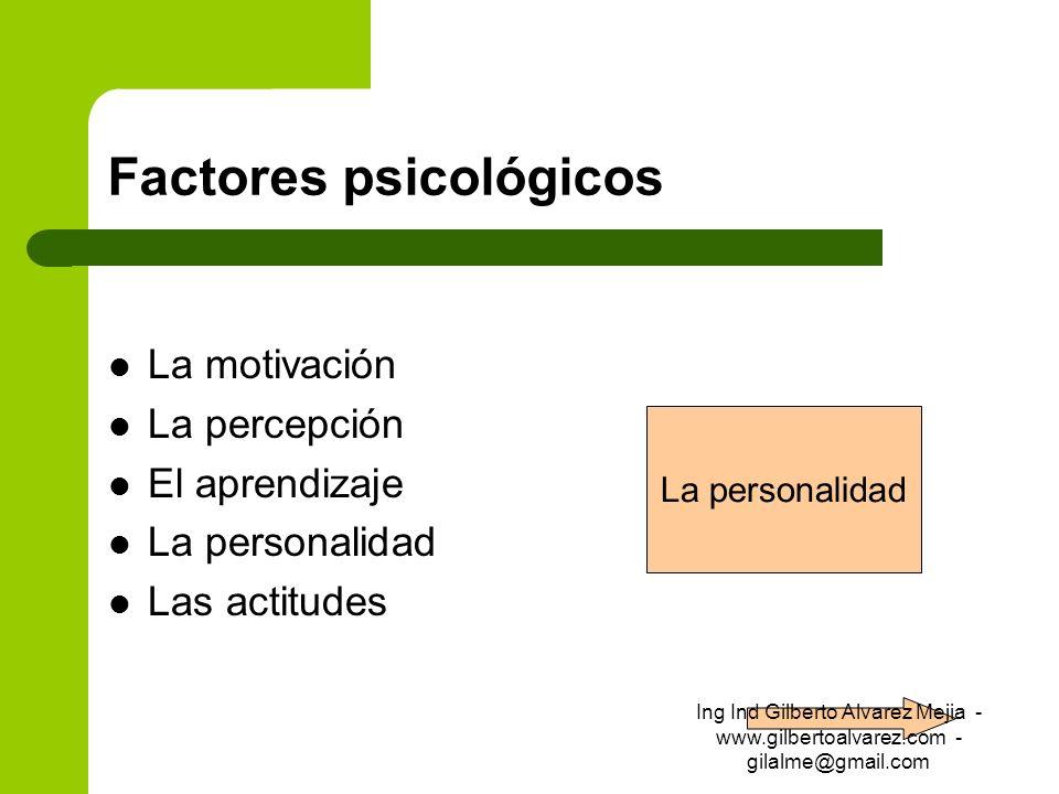 Factores psicológicos La motivación La percepción El aprendizaje La personalidad Las actitudes La personalidad Ing Ind Gilberto Alvarez Mejia - www.gi