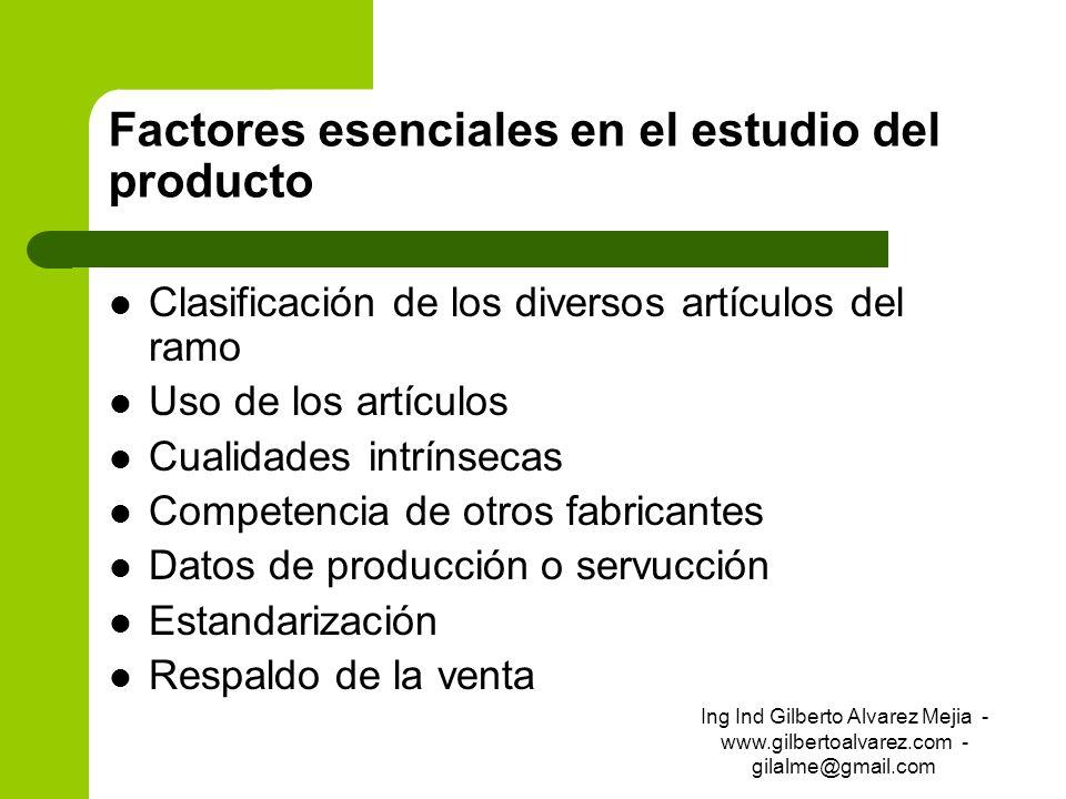 Factores esenciales en el estudio del producto Clasificación de los diversos artículos del ramo Uso de los artículos Cualidades intrínsecas Competenci