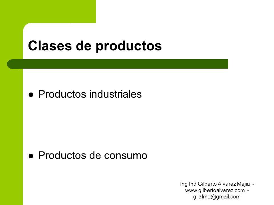 Clases de productos Productos industriales Productos de consumo Ing Ind Gilberto Alvarez Mejia - www.gilbertoalvarez.com - gilalme@gmail.com
