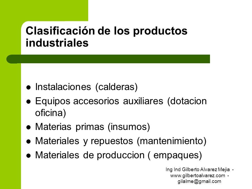Clasificación de los productos industriales Instalaciones (calderas) Equipos accesorios auxiliares (dotacion oficina) Materias primas (insumos) Materi