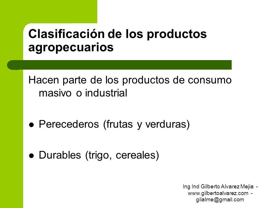Clasificación de los productos agropecuarios Hacen parte de los productos de consumo masivo o industrial Perecederos (frutas y verduras) Durables (tri