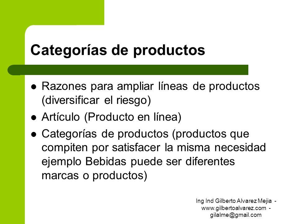 Categorías de productos Razones para ampliar líneas de productos (diversificar el riesgo) Artículo (Producto en línea) Categorías de productos (produc