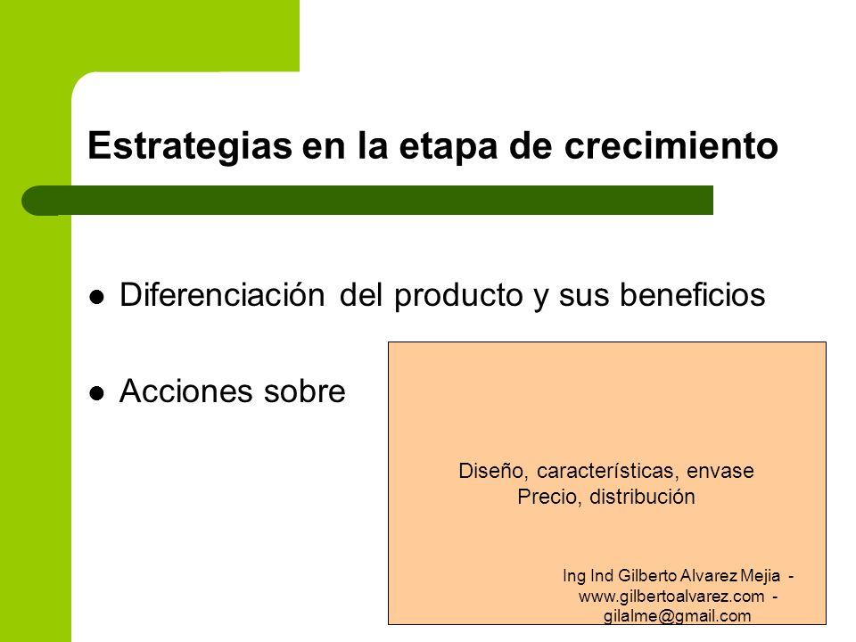 Estrategias en la etapa de crecimiento Diferenciación del producto y sus beneficios Acciones sobre Diseño, características, envase Precio, distribució