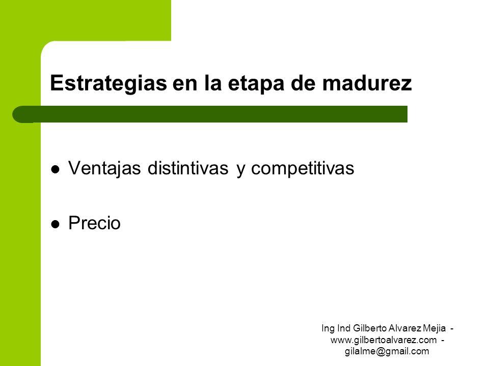 Estrategias en la etapa de madurez Ventajas distintivas y competitivas Precio Ing Ind Gilberto Alvarez Mejia - www.gilbertoalvarez.com - gilalme@gmail