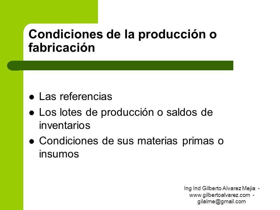 Condiciones de la producción o fabricación Las referencias Los lotes de producción o saldos de inventarios Condiciones de sus materias primas o insumo
