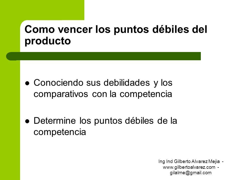 Como vencer los puntos débiles del producto Conociendo sus debilidades y los comparativos con la competencia Determine los puntos débiles de la compet