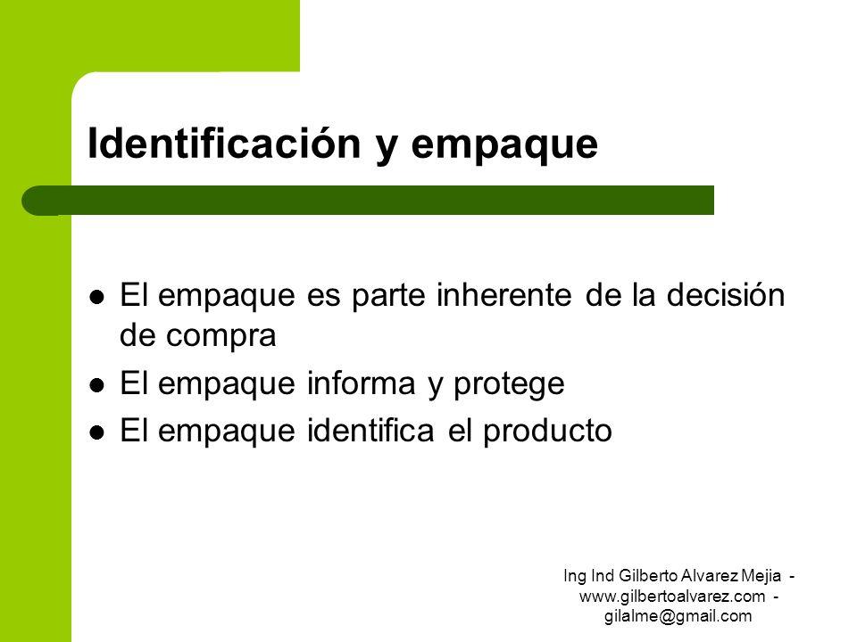 Identificación y empaque El empaque es parte inherente de la decisión de compra El empaque informa y protege El empaque identifica el producto Ing Ind