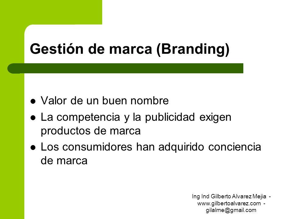 Gestión de marca (Branding) Valor de un buen nombre La competencia y la publicidad exigen productos de marca Los consumidores han adquirido conciencia
