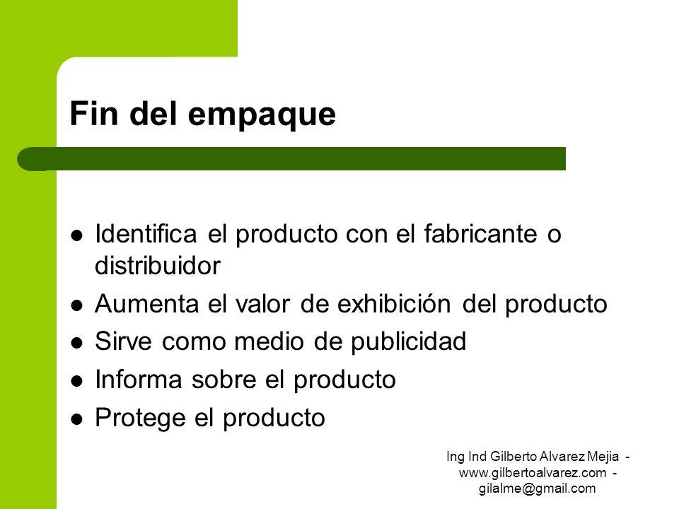 Fin del empaque Identifica el producto con el fabricante o distribuidor Aumenta el valor de exhibición del producto Sirve como medio de publicidad Inf