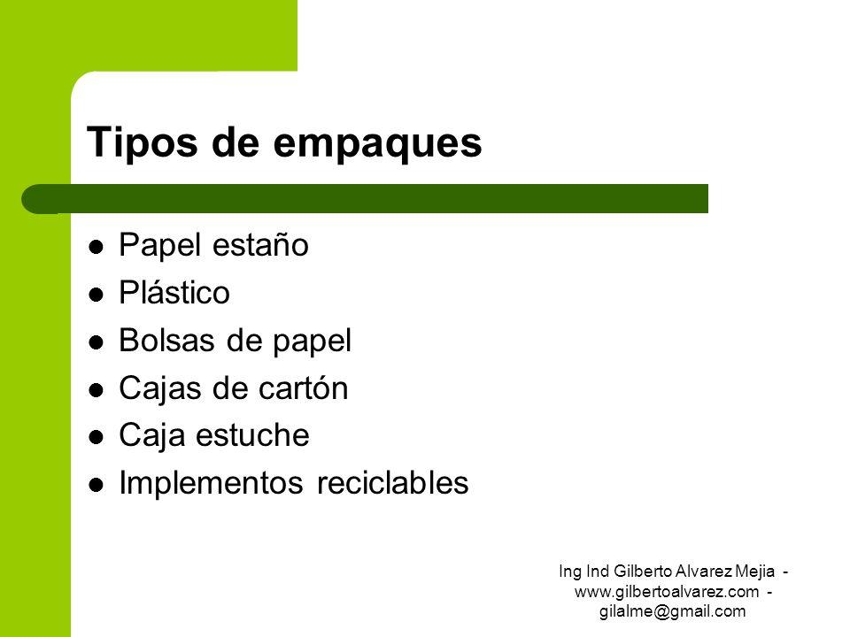 Tipos de empaques Papel estaño Plástico Bolsas de papel Cajas de cartón Caja estuche Implementos reciclables Ing Ind Gilberto Alvarez Mejia - www.gilb
