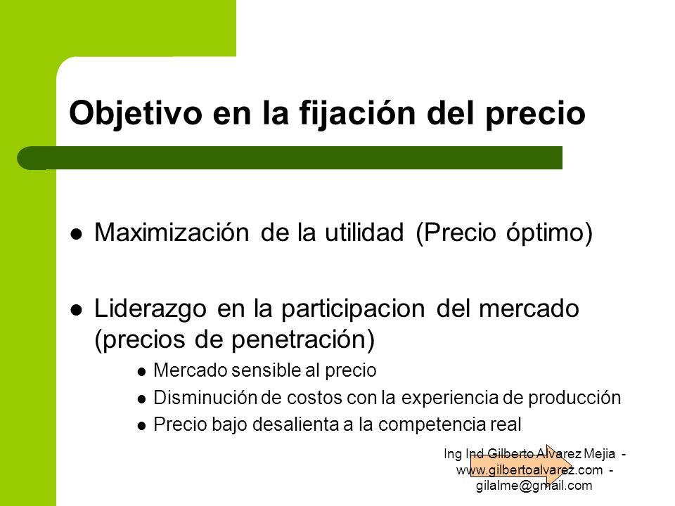 Objetivo en la fijación del precio Maximización de la utilidad (Precio óptimo) Liderazgo en la participacion del mercado (precios de penetración) Merc