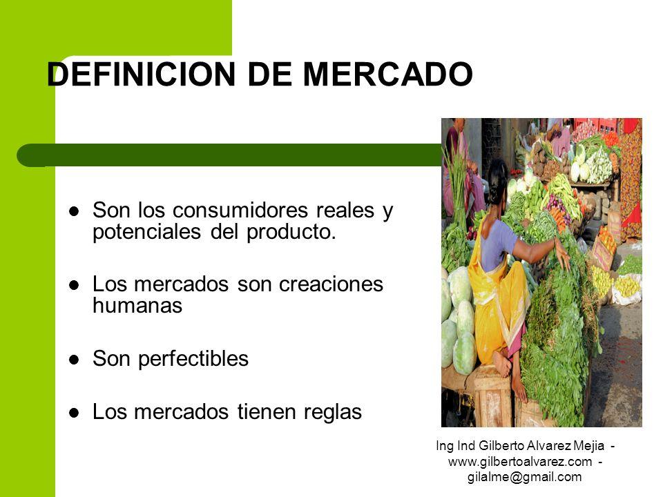 DEFINICION DE MERCADO Son los consumidores reales y potenciales del producto. Los mercados son creaciones humanas Son perfectibles Los mercados tienen