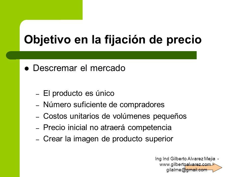 Objetivo en la fijación de precio Descremar el mercado – El producto es único – Número suficiente de compradores – Costos unitarios de volúmenes peque